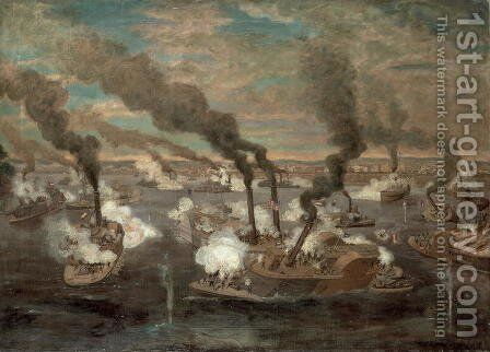 Great Naval Battle of Memphis, Tennessee on 6th June, 1862 by Alexander Simplot - Reproduction Oil Painting
