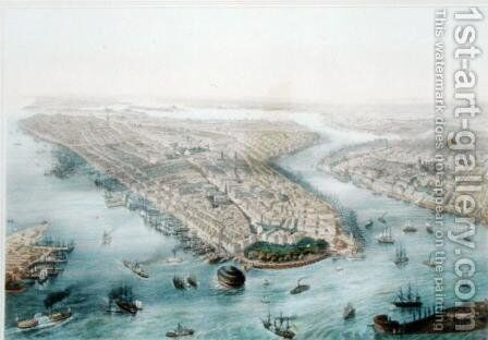 Aerial View of New York and Brooklyn, engraved by T.H. Muller, published by L. Turgis, Paris, c.1850 by (after) Simpson - Reproduction Oil Painting