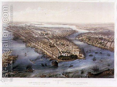 Aerial View of New York and Brooklyn, engraved by T.H Muller, pub. by L. Turgis, Paris, 1855 by (after) Simpson - Reproduction Oil Painting