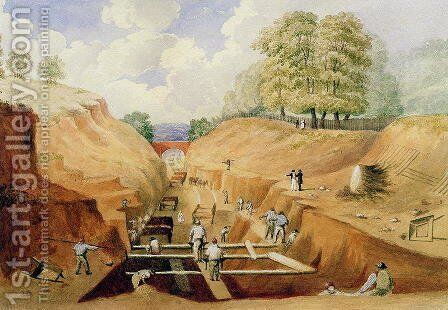 Building the Brighton Railway, 1840 by A. Simpson - Reproduction Oil Painting