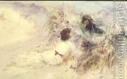 The Artists Wife and Son on the Dunes at Etretat, Normandy by Charles Sims - Reproduction Oil Painting