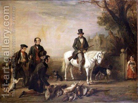 The End of the Day-William Scrope on a White Pony by William Simson - Reproduction Oil Painting