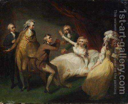 Camilla recovering from her swoon, illustration of a scene from Camilla, or A Picture of Youth, published in 1796 by Henry Singleton - Reproduction Oil Painting