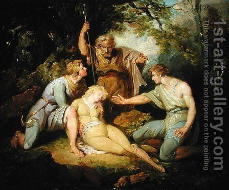 Scene ii Act IV from Cymbeline by William Shakespeare 1564-1616 by Henry Singleton - Reproduction Oil Painting