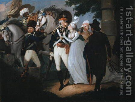 An officer of Light Dragoons taking leave of his wife, c.1795 by Henry Singleton - Reproduction Oil Painting