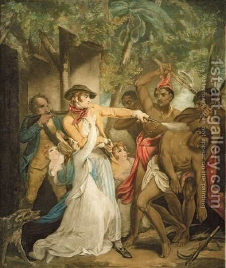 The Settling Family Attacked by Savages, engraved by George Keating 1762-1842 by Henry Singleton - Reproduction Oil Painting