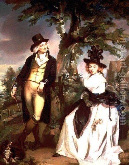 Portrait of a Lady seated and her husband standing by Henry Singleton - Reproduction Oil Painting