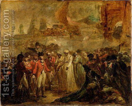 The Surrender of the Two Sons of Tipu Sahib 1749-99, Sultan of Mysore, to Sir David Baird, c.1800 by Henry Singleton - Reproduction Oil Painting