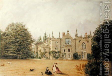View of Strawberry Hill, Middlesex from the gardens by Gustave Ellinthorpe Sintzenich - Reproduction Oil Painting