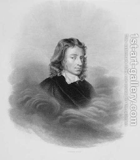 Portrait of John Milton 1608-74 engraved by the artist by Alexandre Vincent Sixdeniers - Reproduction Oil Painting