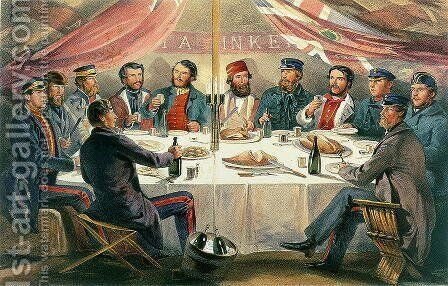 A Christmas Dinner on the Heights before Sebastopol, engraved by J.A. Vinter, pub. 1855 by William Simpson - Reproduction Oil Painting