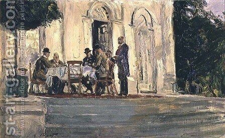 Dinner on the Badenburg Terrace at Castle Nymphenburg, 1908 by Max Slevogt - Reproduction Oil Painting