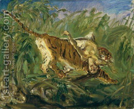 Tiger in the Jungle, 1917 by Max Slevogt - Reproduction Oil Painting