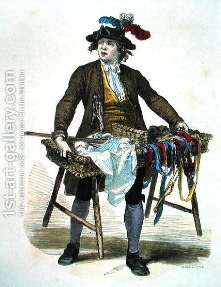 Ribbon Seller in 1774 by Burn (Cosson) Smeeton - Reproduction Oil Painting
