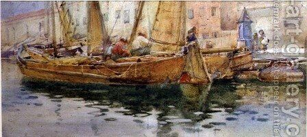 Mending the Nets by Arthur Reginald Smith - Reproduction Oil Painting
