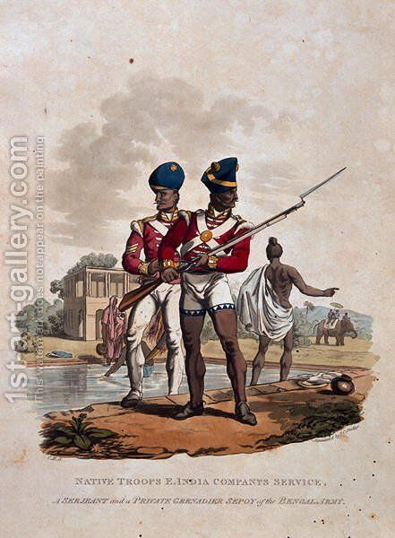 Native Troops, East India Companys Service, A Sergeant and a Private Grenadier Sepoy of the Bengal Army, from Costumes of the Army of the British Empire, according to the last regulations 1812, published by Colnaghi and Co. 1812-15 by Charles Hamilton Smith - Reproduction Oil Painting