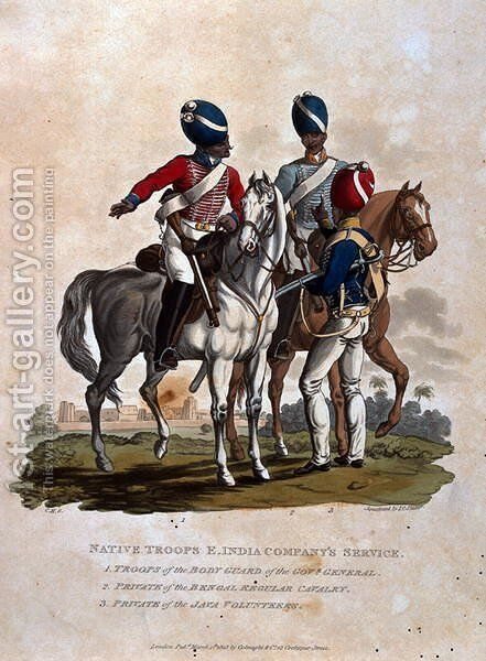 Native Troops, East India Companys Service, Troops of the Body Guard of the Governor General, Private of the Bengal Regular, from Costumes of the Army of the British Empire, according to the last regulations 1812, published by Colnaghi and Co. 1812-15 by Charles Hamilton Smith - Reproduction Oil Painting