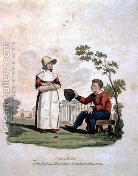 Children at the Royal Military Asylum, Chelsea, from Costumes of the Army of the British Empire, according to the last regulations 1812, engraved by J.C. Stadler, published by Colnaghi and Co. 1812-15 by Charles Hamilton Smith - Reproduction Oil Painting