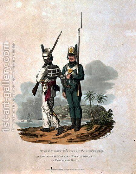 York Light Infantry Volunteers, a Serjeant of Morning Parade Dress, A  Private on Duty, from Costumes of the Army of the British Empire, according  to