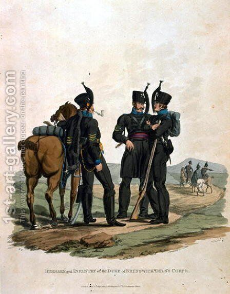 Hussars and Infantry of the Duke of Brunswick Oelss Corps, from Costumes of the Army of the British Empire, according to the last regulations 1812, engraved by J.C. Stadler, published by Colnaghi and Co. 1812-15 by Charles Hamilton Smith - Reproduction Oil Painting