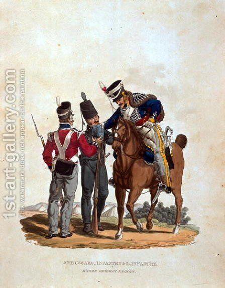 3rd Hussars, Infantry and Light Infantry, Kings German Legion, from Costumes of the Army of the British Empire, according to the last regulations 1812, engraved by J.C. Stadler, published by Colnaghi and Co. 1812-15 by Charles Hamilton Smith - Reproduction Oil Painting