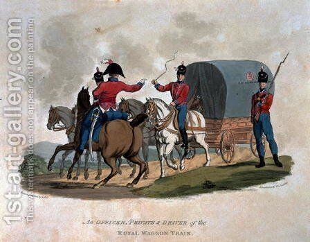 An Officer, Private, and Driver of the Royal Waggon Train, from Costumes of the Army of the British Empire, according to the last regulations 1812, engraved by J.C. Stadler, published by Colnaghi and Co. 1812-15 by Charles Hamilton Smith - Reproduction Oil Painting