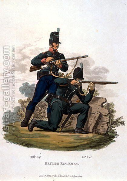 British Riflemen, from Costumes of the Army of the British Empire, according to the last regulations 1812, engraved by J.C. Stadler, published by Colnaghi and Co. 1812-15 by Charles Hamilton Smith - Reproduction Oil Painting