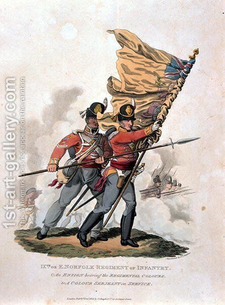9th, or E Norfolk Regiment of Infantry, from Costumes of the Army of the British Empire, according to the last regulations 1812, engraved by J.C. Stadler, published by Colnaghi and Co. 1812-15 by Charles Hamilton Smith - Reproduction Oil Painting