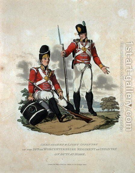 Grenadiers and Light Infantry of the 29th or, Worcestershire Regiment of Infantry on Duty at Home, from Costumes of the Army of the British Empire, according to the last regulations 1812, engraved by J.C. Stadler, published by Colnaghi and Co. 1812-15 by Charles Hamilton Smith - Reproduction Oil Painting
