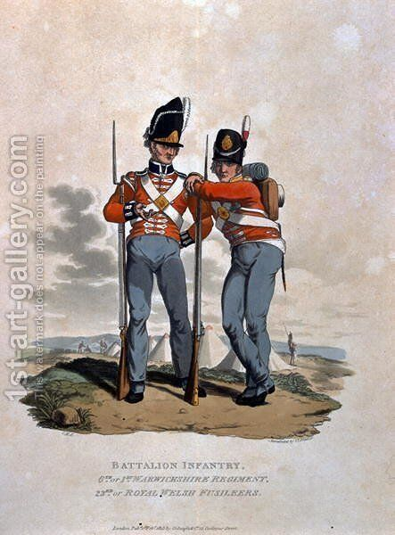 Battalion Infantry 6th Regiment and 23rd or Royal Welsh Fusiliers, from Costumes of the Army of the British Empire, according to the last regulations 1812, engraved by J.C. Stadler, published by Colnaghi and Co. 1812-15 by Charles Hamilton Smith - Reproduction Oil Painting