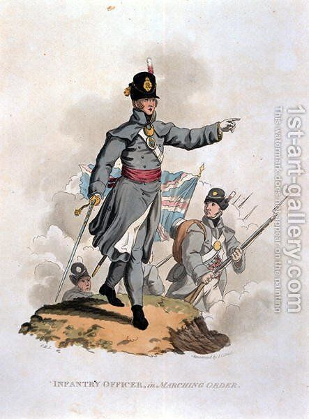 Infantry Officer in Marching Order, from Costumes of the Army of the British Empire, according to the last regulations 1812, engraved by J.C. Stadler, published by Colnaghi and Co. 1812-15 by Charles Hamilton Smith - Reproduction Oil Painting