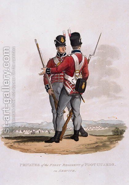 Privates of the First Regiment of Foot Guards on Service, from Costumes of the Army of the British Empire, according to the last regulations 1812, engraved by J.C. Stadler, published by Colnaghi and Co. 1812-15 by Charles Hamilton Smith - Reproduction Oil Painting