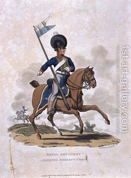 Royal Artillery Mounted Rockett Corps, from Costumes of the Army of the British Empire, according to the last regulations 1812, engraved by J.C. Stadler, published by Colnaghi and Co. 1812-15 by Charles Hamilton Smith - Reproduction Oil Painting