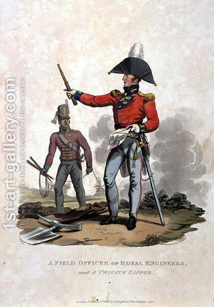 A Field Officer of Royal Engineers and a Private Sapper, from Costumes of the Army of the British Empire, according to the last regulations 1812, published by Colnaghi and Co. 1812-15 by Charles Hamilton Smith - Reproduction Oil Painting