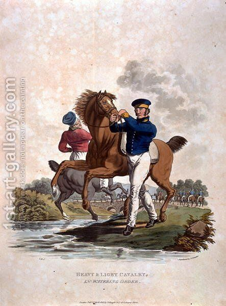 Heavy and Light Cavalry in Watering Order, from Costumes of the Army of the British Empire, according to the last regulations 1812, engraved by J.C. Stadler, published by Colnaghi and Co. 1812-15 by Charles Hamilton Smith - Reproduction Oil Painting