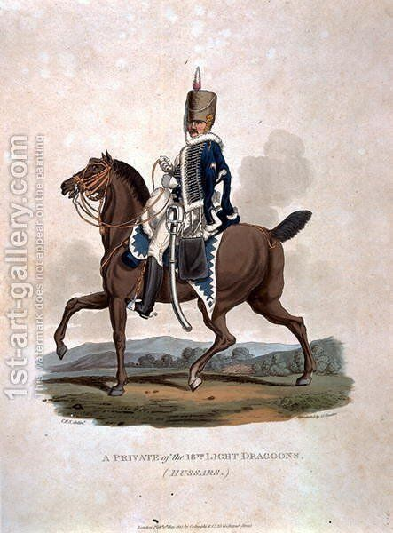 A Private of the 18th Light Dragoons Hussars from Costumes of the Army of the British Empire, according to the last regulations 1812, engraved by J.C. Stadler, published by Colnaghi and Co. 1812-15 by Charles Hamilton Smith - Reproduction Oil Painting