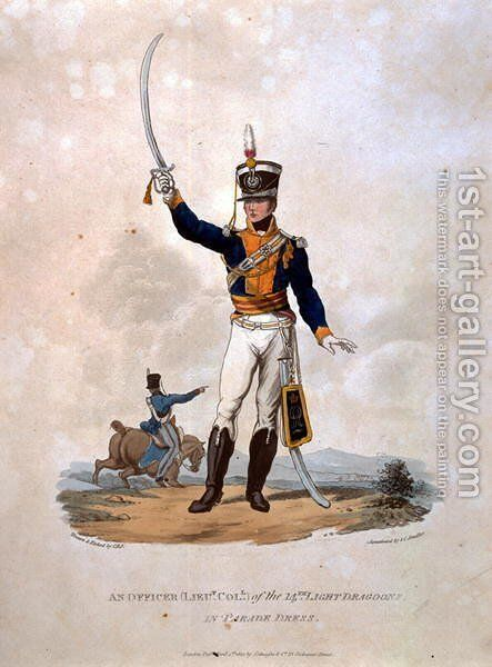 An Officer of the 14th Light Dragoons in Parade Dress, from Costumes of the Army of the British Empire, according to the last regulations 1812, engraved by J.C. Stadler, published by Colnaghi and Co. 1812-15 by Charles Hamilton Smith - Reproduction Oil Painting