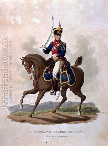 An Officer of the 9th Light Dragoons in Review Order, from Costumes of the Army of the British Empire, according to the last regulations 1812, engraved by J.C. Stadler, published by Colnaghi and Co. 1812-15 by Charles Hamilton Smith - Reproduction Oil Painting
