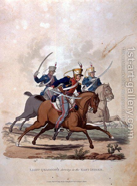 Light Dragoons serving the East Indies, from Costumes of the Army of the British Empire, according to the last regulations 1812, engraved by J.C. Stadler, published by Colnaghi and Co. 1812-15 by Charles Hamilton Smith - Reproduction Oil Painting