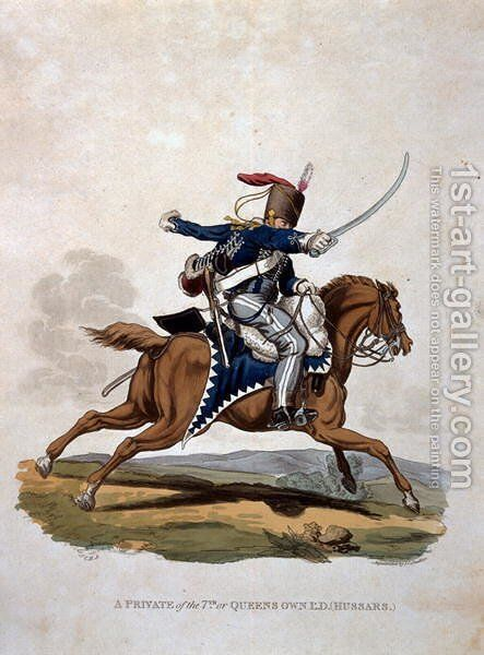 A Private of the 7th, or Queens Own Hussars, from Costumes of the Army of the British Empire, according to the last regulations 1812, engraved by J.C. Stadler, published by Colnaghi and Co. 1812-15 by Charles Hamilton Smith - Reproduction Oil Painting