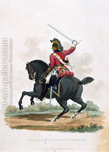 A Private of the 3rd, or Kings Own Dragoons, from Costumes of the Army of the British Empire, according to the last regulations 1812, engraved by J.C. Stadler, published by Colnaghi and Co. 1812-15 by Charles Hamilton Smith - Reproduction Oil Painting