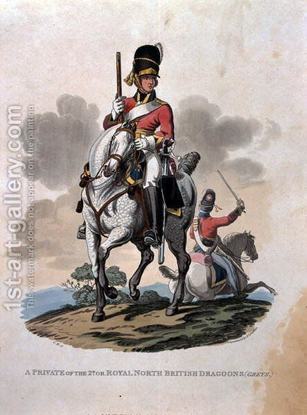 A Private of the 2nd, or Royal Northern British Dragoons (Greys) from Costumes of the Army of the British Empire, according to the last regulations 1812, engraved by J.C. Stadler, published by Colnaghi and Co. 1812-15 by Charles Hamilton Smith - Reproduction Oil Painting