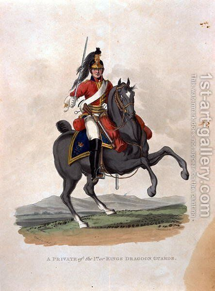 A Private of the 1st, or Kings Dragoon Guards, from Costumes of the Army of the British Empire, according to the last regulations 1812, engraved by J.C. Stadler, published by Colnaghi and Co. 1812-15 by Charles Hamilton Smith - Reproduction Oil Painting