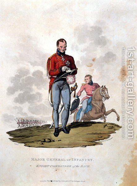 Major General of Infantry Knight Commander of the Bath, from Costumes of the Army of the British Empire, according to the last regulations 1812, engraved by J.C. Stadler, published by Colnaghi and Co. 1812-15 by Charles Hamilton Smith - Reproduction Oil Painting