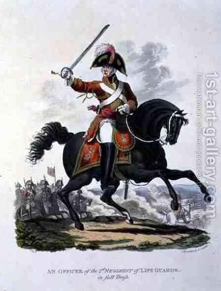 An Officer of the 2nd Regiment of Life Guards in Full Dress, engraved by Joseph Constantine Stadler, 1812 by Charles Hamilton Smith - Reproduction Oil Painting
