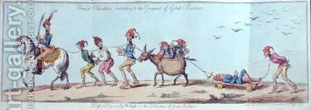 French Volunteers marching to the Conquest of Great Britain, etched by James Gillray 1757-1815 published by Hannah Humphrey in 1803 by Charles Lorraine Smith - Reproduction Oil Painting