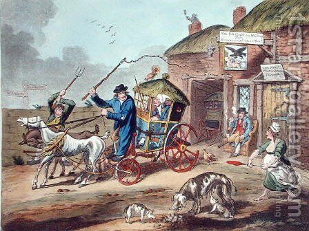 Posting in Ireland, published by Hannah Humphrey in 1805 by Charles Lorraine Smith - Reproduction Oil Painting