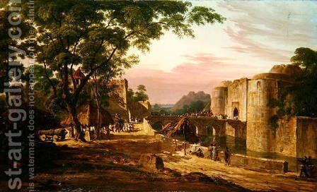 The Procession into the Fort at Bharatpur by Colonel Robert Smith - Reproduction Oil Painting