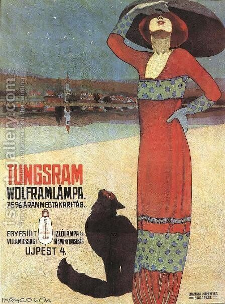 Poster for Tungsram Light Bulbs c. 1910 by Geza Farago - Reproduction Oil Painting