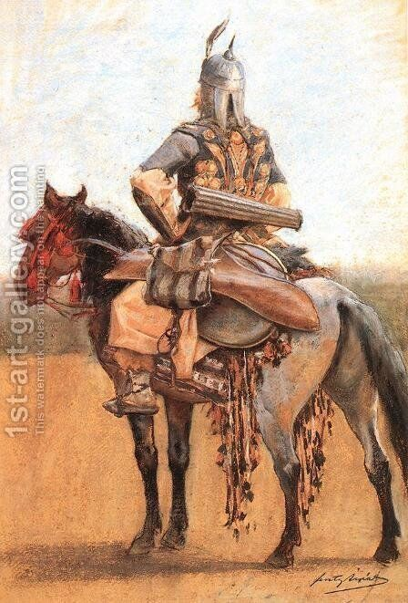 Hungarian Rider of the Era of Conquest by Arpad Feszty - Reproduction Oil Painting